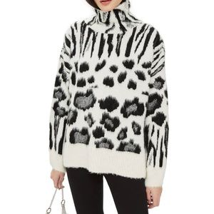Topshop Black & White Animal Print Sweater